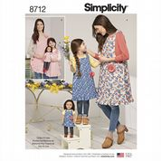 "8712 Simplicity Pattern: Child's, Misses' and 18"" Doll Aprons"